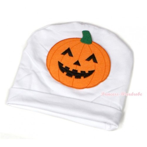 Halloween White Cotton Cap with Pumpkin Print TH393