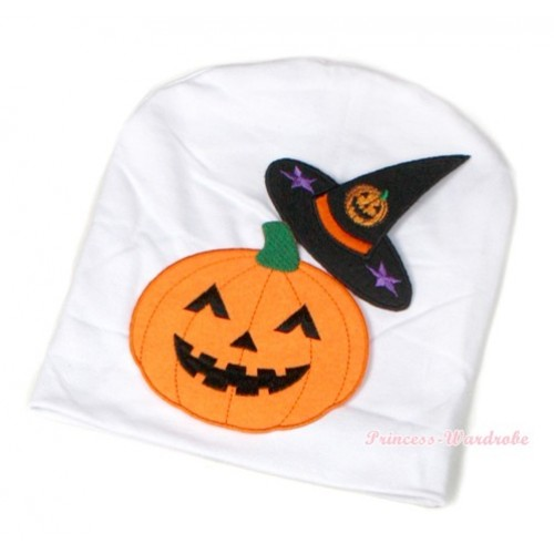 Halloween White Cotton Cap with Pumpkin Witch Hat & Pumpkin Print TH394