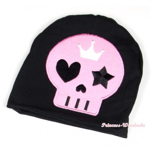 Halloween Black Cotton Cap with Light Pink Skeleton Print TH395