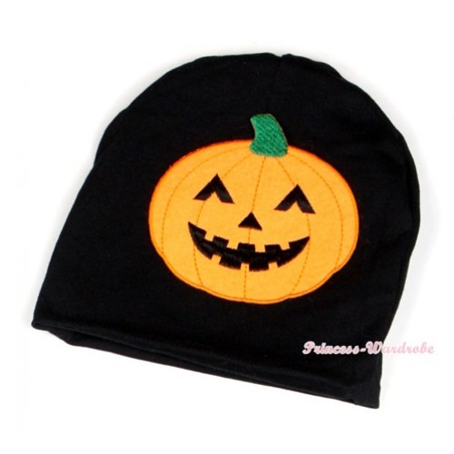 Halloween Black Cotton Cap with Pumpkin Print TH396