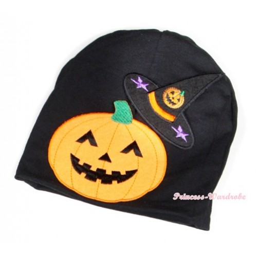 Halloween Black Cotton Cap with Pumpkin Witch Hat & Pumpkin Print TH397