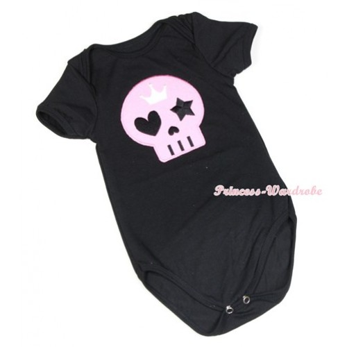 Halloween Black Baby Jumpsuit with Light Pink Skeleton Print TH405