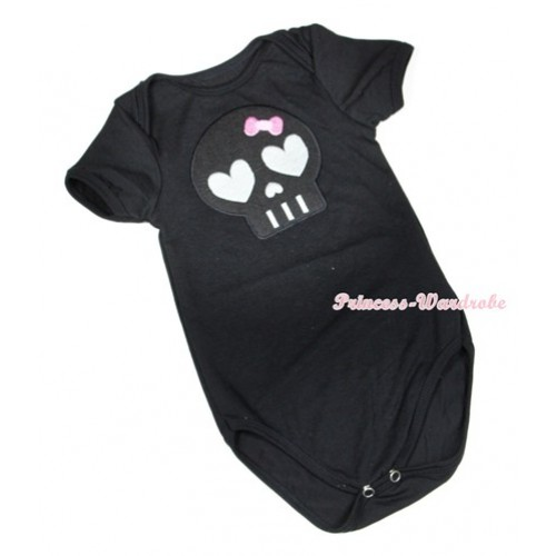 Halloween Black Baby Jumpsuit with Black Skeleton Print TH406