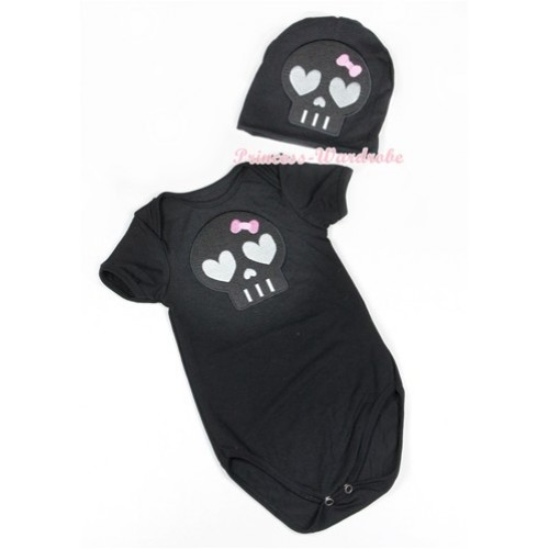 Halloween Black Baby Jumpsuit with Black Skeleton Print with Cap Set JP52