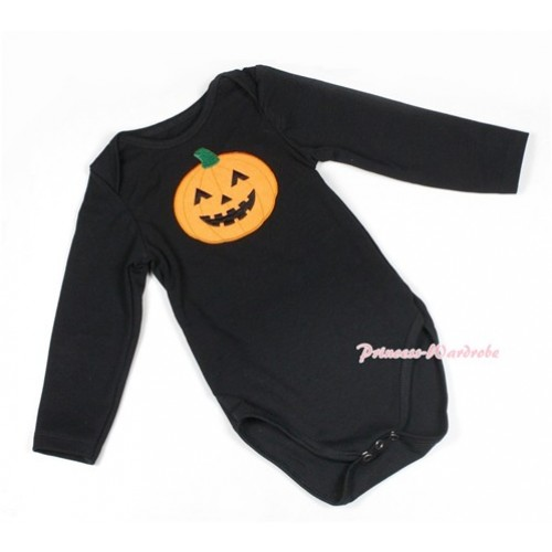 Halloween Black Long Sleeve Baby Jumpsuit with Pumpkin Print LS216
