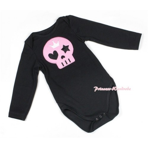 Halloween Black Long Sleeve Baby Jumpsuit with Light Pink Skeleton Print LS217