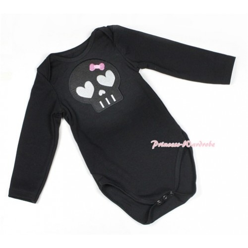 Halloween Black Long Sleeve Baby Jumpsuit with Black Skeleton Print LS218