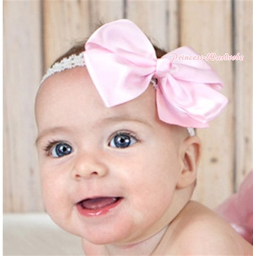 Light Pink Silk Bow Hair Clip H737