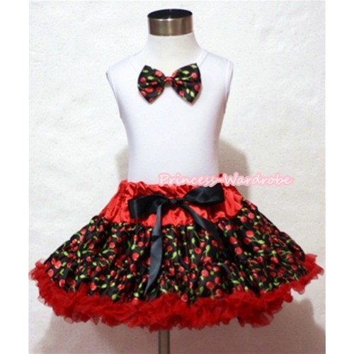 Black Cherry Bow White Tank Top with Hot Red Black Cherry Pettiskirt MG051