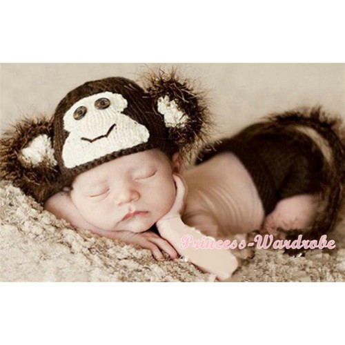 Monkey Photo Prop Crochet Newborn Baby Custome C151