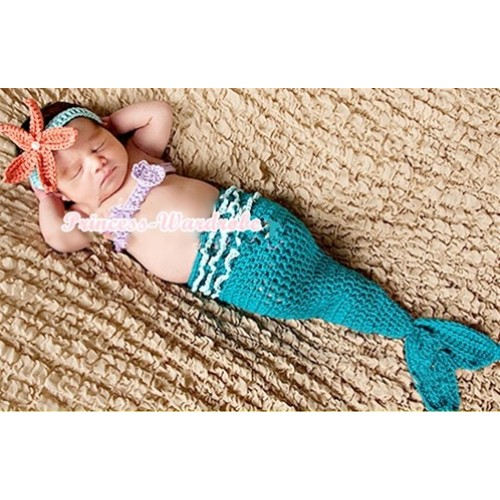 Blue Mermaid Photo Prop Crochet Newborn Baby Custome C154