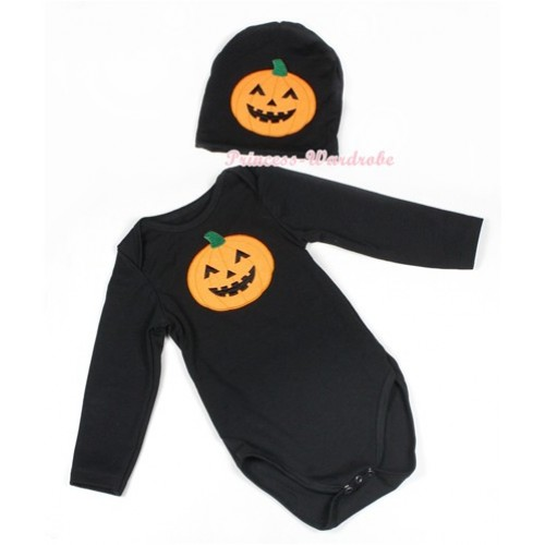 Halloween Black Long Sleeve Baby Jumpsuit with Pumpkin Print with Cap Set LS111