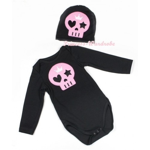 Halloween Black Long Sleeve Baby Jumpsuit with Light Pink Skeleton Print with Cap Set LS112