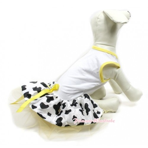 White Sleeveless Yellow Milk Cow Gauze Skirt With Yellow Rhinestone Bow Pet Dress DC023