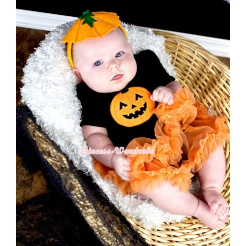 Halloween Black Baby Jumpsuit Orange Pettiskirt With Pumpkin Print With Pumpkin Costume JS1314
