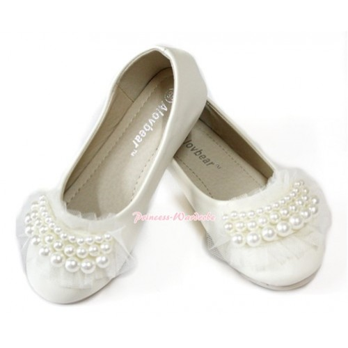 Ivory Cream White Pearl Lace Slip On Deck Boat Round Toe Girl Shoes D01-5Beige