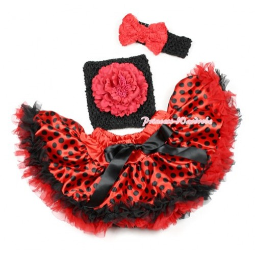 Halloween Red Black Dots Beetle Pettiskirt,Red Peony Black Crochet Tube Top, Black Headband Red Romantic Rose Bow 3PC Set CT633