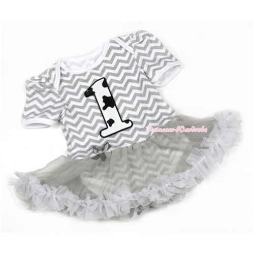 Grey White Wave Baby Jumpsuit Grey Pettiskirt with 1st Milk Cow Birthday Number Print JS1344