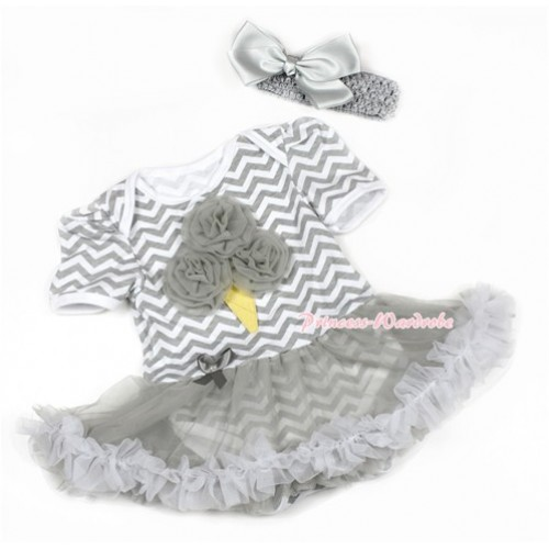 Grey White Wave Baby Jumpsuit Grey Pettiskirt With Grey Rosettes Ice Cream Print With Grey Headband Grey Silk Bow JS1365