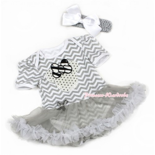 Grey White Wave Baby Jumpsuit Grey Pettiskirt With Sparkle White Minnie Print With Grey Headband White Silk Bow JS1370