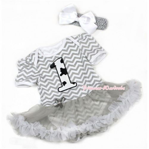 Grey White Wave Baby Jumpsuit Grey Pettiskirt With 1st Milk Cow Birthday Number Print With Grey Headband White Silk Bow JS1371