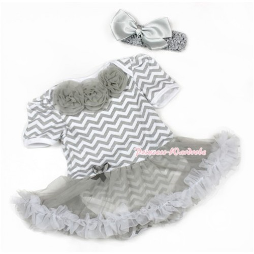 Grey White Wave Baby Jumpsuit Grey Pettiskirt With Grey Rosettes With Grey Headband Grey Silk Bow JS1362