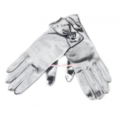 Elegant Silver Grey Bow Princess Costume Satin Dress Gloves C157