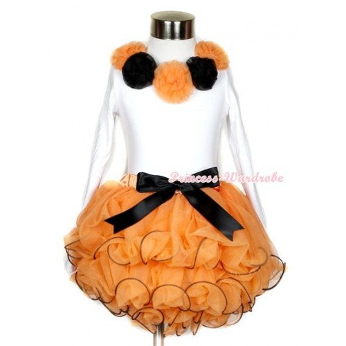 Halloween Black Bow Orange Petal Pettiskirt Matching White Long Sleeve Top With Orange Black Rosettes MW252
