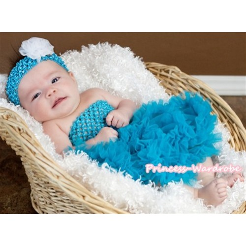 Peacock Blue Crochet Tube Top With Peacock Blue Baby Pettiskirt CT223