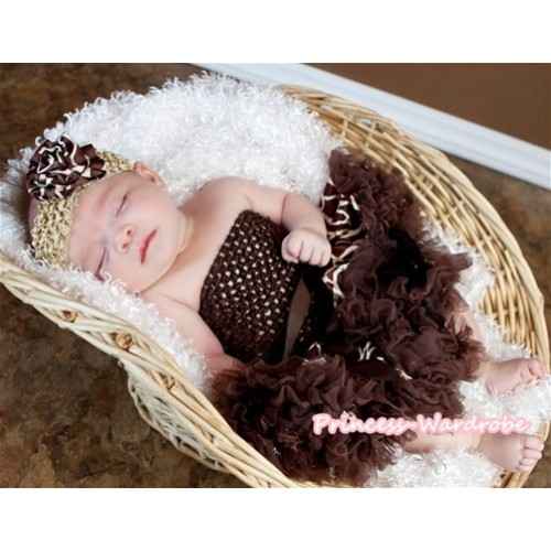 Brown Crochet Tube Top with Brown Giraffe Print Baby Pettiskirt CT224