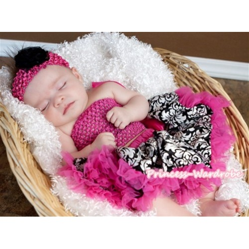 Hot Pink Crochet Tube Top with Hot Pink Damask Baby Pettiskirt CT225