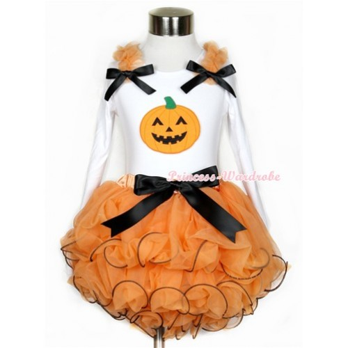 Halloween Black Bow Orange Petal Pettiskirt with Matching White Long Sleeve Top with Orange Ruffles & Black Bow & Pumpkin Print MW281