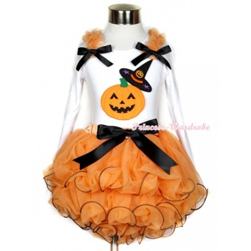 Halloween Black Bow Orange Petal Pettiskirt with Matching White Long Sleeve Top with Orange Ruffles & Black Bow & Pumpkin Witch Hat & Pumpkin Print MW282
