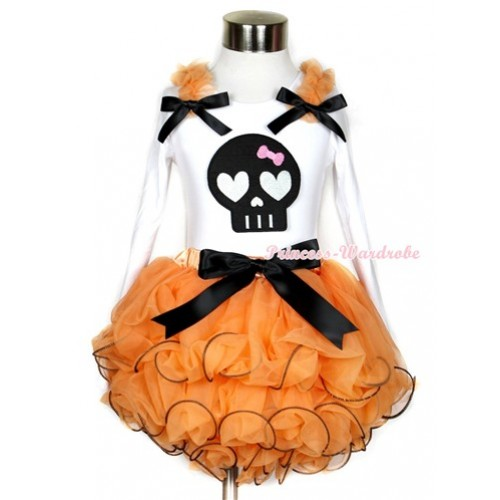 Halloween Black Bow Orange Petal Pettiskirt with Matching White Long Sleeve Top with Orange Ruffles & Black Bow & Black Skeleton Print MW283