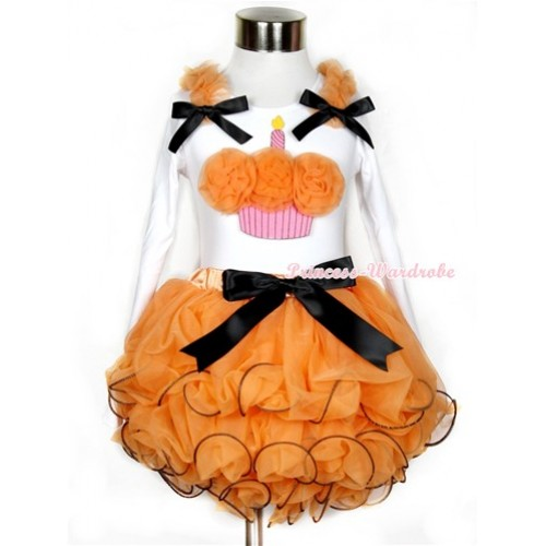 Halloween Black Bow Orange Petal Pettiskirt with Matching White Long Sleeve Top with Orange Ruffles & Black Bow & Orange Rosettes Birthday Cake Print MW284