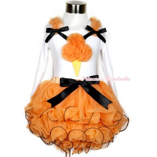 Halloween Black Bow Orange Petal Pettiskirt with Matching White Long Sleeve Top with Orange Ruffles & Black Bow & Orange Rosettes Ice Cream Print MW285