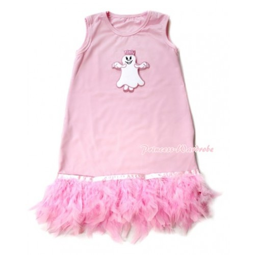 Light Pink One-Piece Pettidress With Princess Ghost Print With Light Pink Posh Feather Ruffles CD022