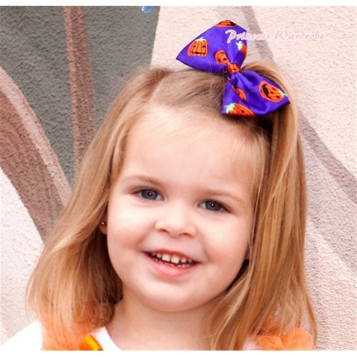 Halloween Dark Purple Pumpkin Satin Bow Hair Clip H722