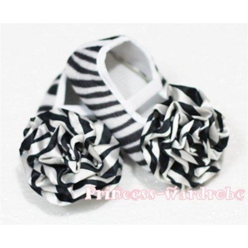 Baby Zebra Crib Shoes with Zebra Rosettes S37