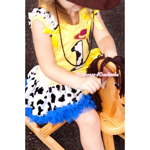 Yellow Baby Pettitop with 1st Cowgirl Hat Braid Milk Cow Birthday Number Print with Milk Cow Ruffles & Yellow Bow with Yellow Royal Blue Milk Cow Newborn Pettiskirt BG90
