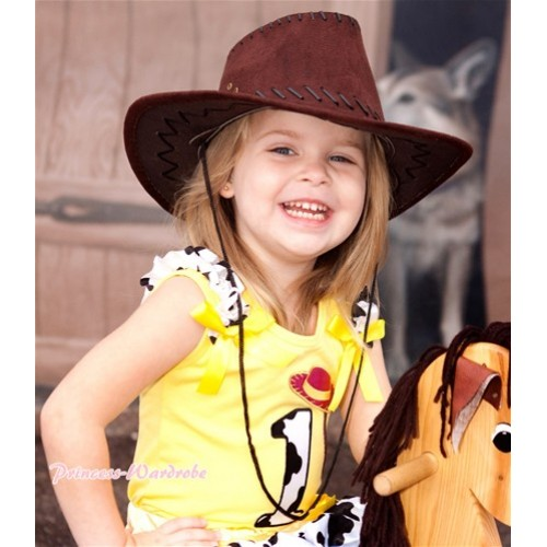 Yellow Tank Top With 1st Cowgirl Hat Braid Milk Cow Birthday Number Print with Milk Cow Ruffles & Yellow Bow TN228