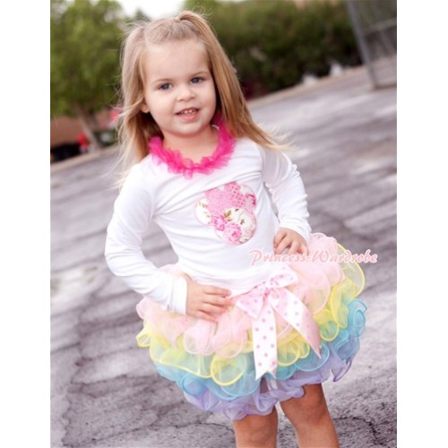 Light Hot Pink Dots Bow Light Pink Rainbow Petal Pettiskirt with Sparkle Light Pink Rose Minnie Print White Long Sleeve Top with Hot Pink Chiffon Lacing MW301