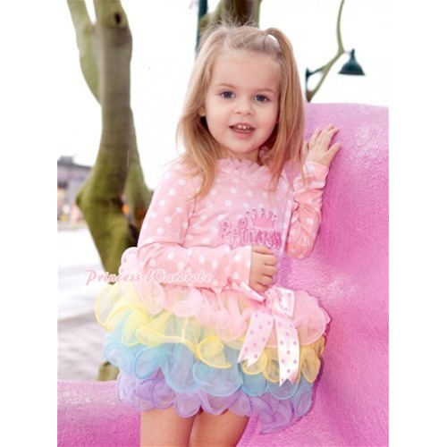Light Hot Pink Dots Bow Light Pink Rainbow Petal Pettiskirt with Princess Print Light Pink White Dots Long Sleeve Top with Light Pink Chiffon Lacing MW302