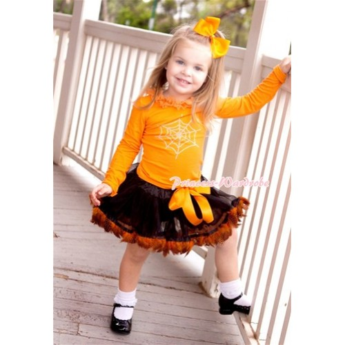 Halloween Black Orange Feather Pettiskirt with Sparkle Crystal Glitter Spider Web Print Orange Long Sleeve Top with Orange Chiffon Lacing MW305