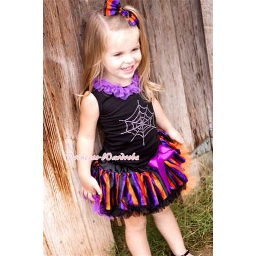 Halloween Black Baby Pettitop with Dark Purple Chiffon Lacing & Sparkle Crystal Glitter Spider Web Print with Orange Purple Black Striped Newborn Pettiskirt NG1242