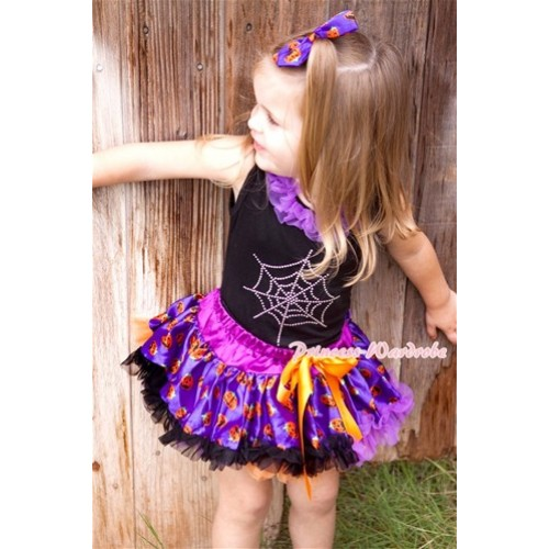 Halloween Black Baby Pettitop with Dark Purple Chiffon Lacing & Sparkle Crystal Glitter Spider Web Print with Orange Purple Black Pumpkin Newborn Pettiskirt NG1243