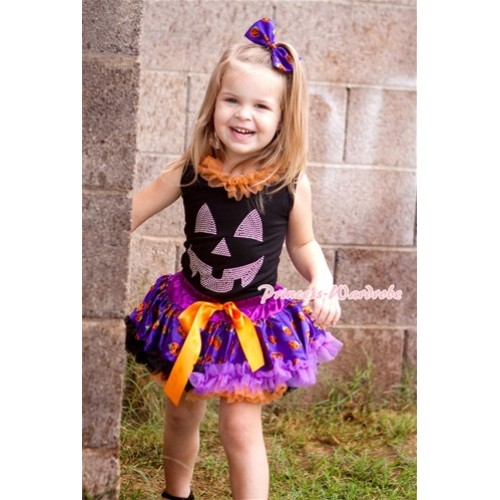 Halloween Black Baby Pettitop with Orange Chiffon Lacing & Sparkle Crystal Glitter Pumpkin Print with Orange Purple Black Pumpkin Newborn Pettiskirt NG1244