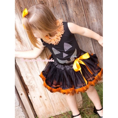 Halloween Black Baby Pettitop with Orange Chiffon Lacing & Sparkle Crystal Glitter Pumpkin Print with Black Orange Feather Newborn Pettiskirt NG1246