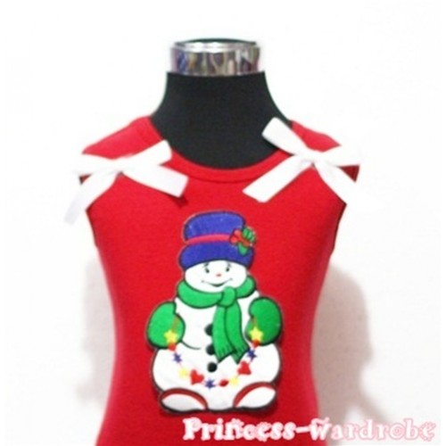 Christmas Scarf Snowman Red Tank Top with White Ribbon TN74