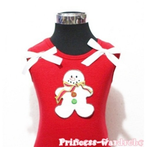 Christmas Gingerbread Snowman Red Tank Top with White Ribbon TN77